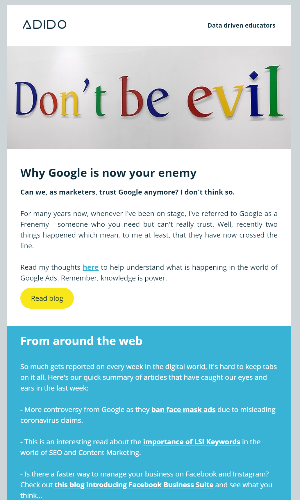 Google is your enemy newsletter image