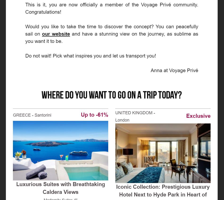 Voyage Prive newsletter 2