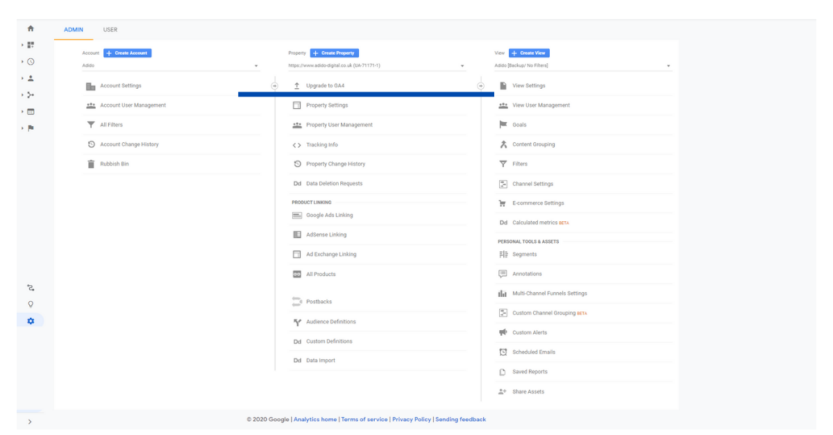 Where to find the upgrade to Google Analytics4 image
