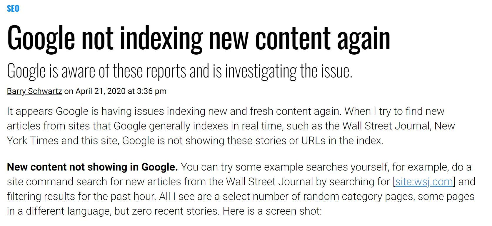 Google not indexing new content image