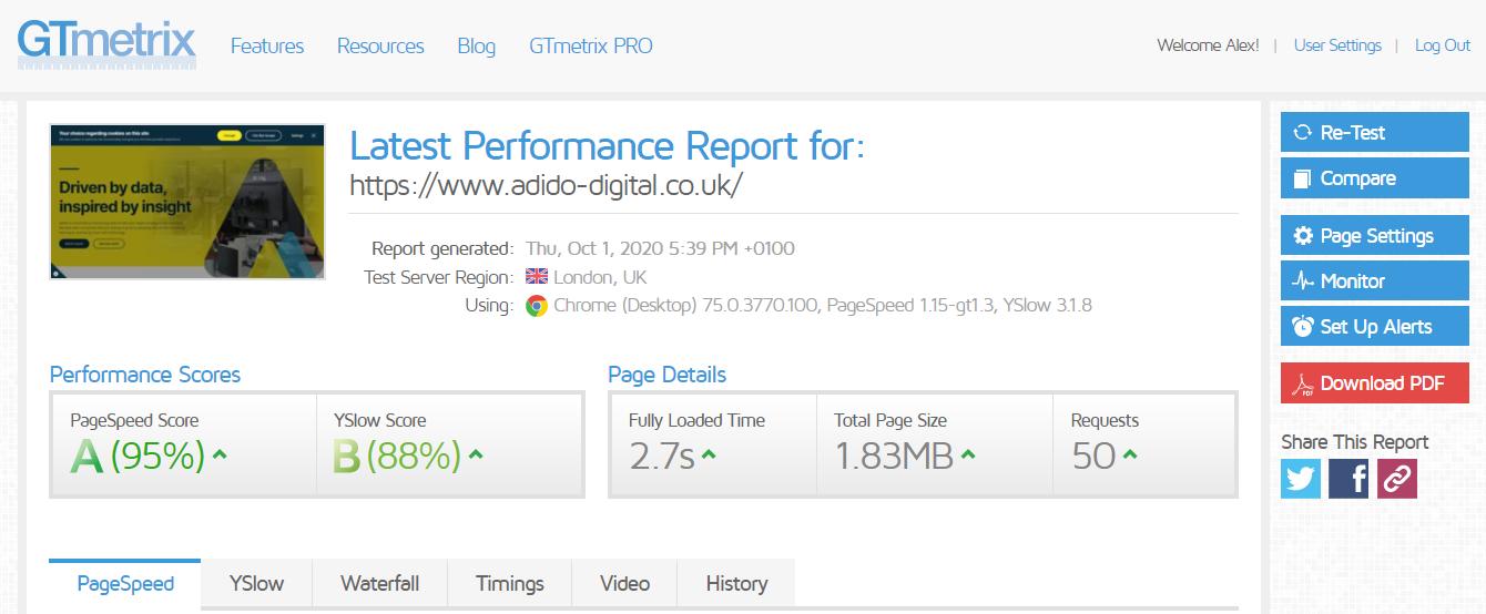 gtmetrix site speed report