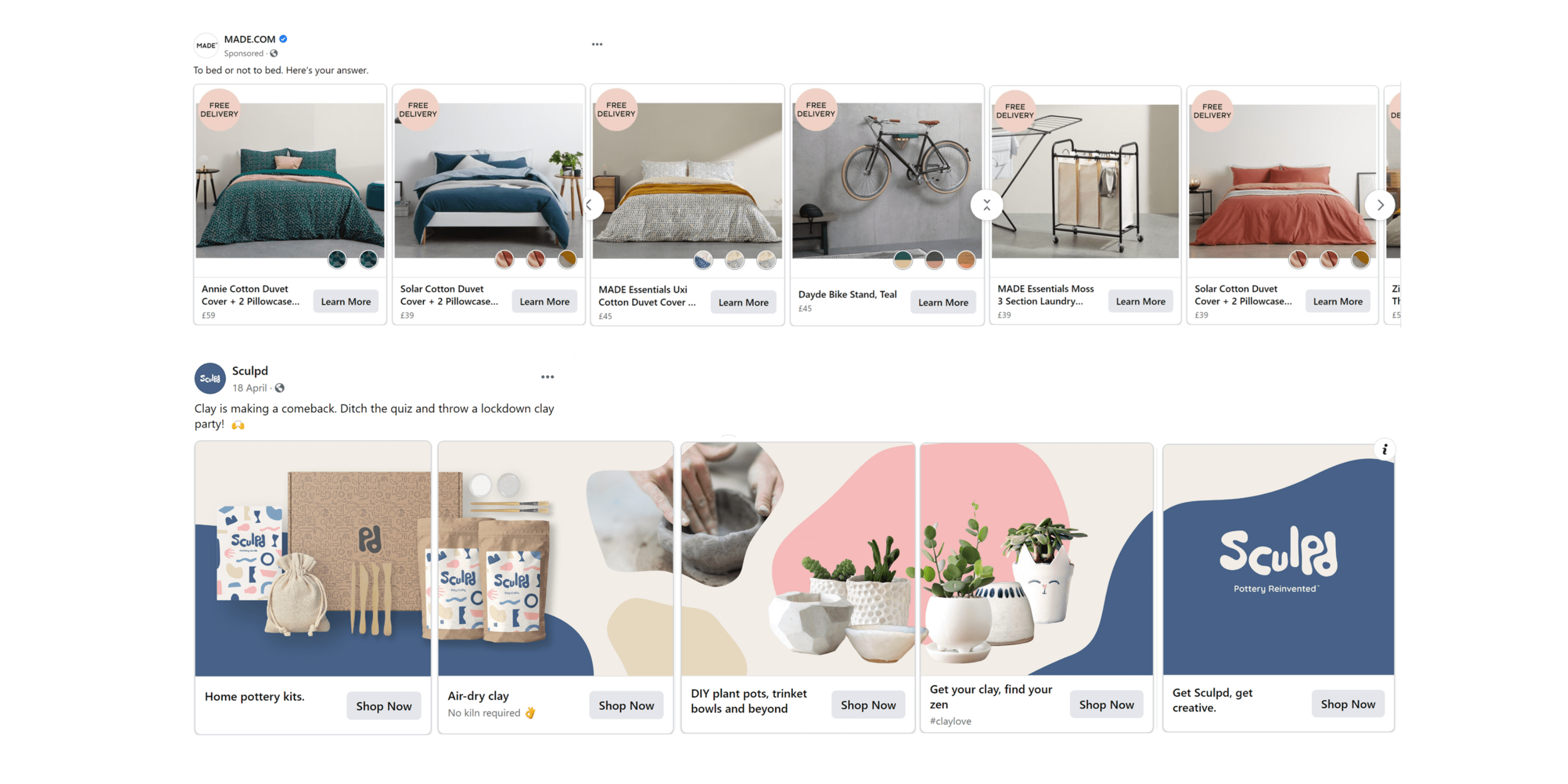 Social ecommerce carousel example image